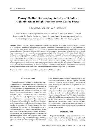 Peroxyl Radical Scavenging Activity of Soluble High Molecular Weight Fraction from Coffee Brews