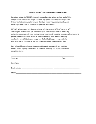 MERLOT AUDIO/VIDEO RECORDING RELEASE FORM