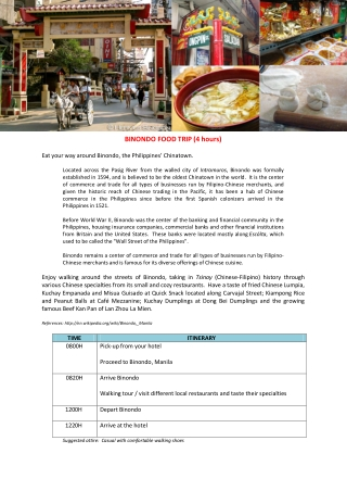 BINONDO FOOD TRIP (4 hours)