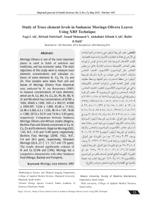 Study of Trace element levels in Sudanese Moringa Olivera Leaves Using XRF Technique