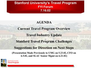 Stanford College's Travel Program FYI Discussion 7.16.02