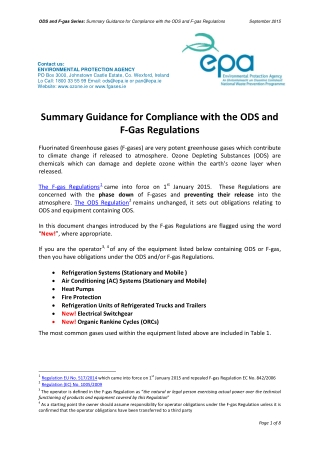 Summary Guidance for Compliance with the ODS and F-Gas Regulations