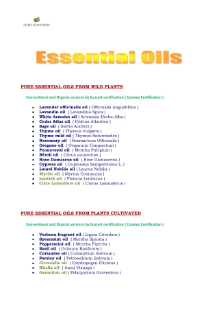 PURE ESSENTIAL OILS FROM WILD PLANTS
