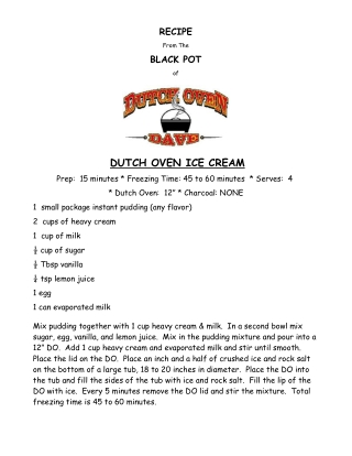 DUTCH OVEN ICE CREAM