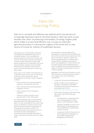 Palm Oil Sourcing Policy