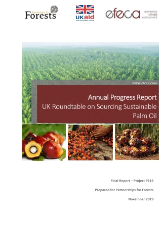 Annual Progress Report Annual Progress Report UK Roundtable on Sourcing Sustainable Palm Oil