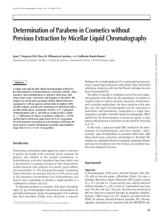 Determination of Parabens in Cosmetics without Previous Extraction by Micellar Liquid Chromatography