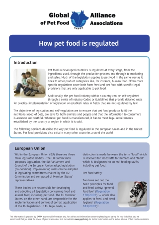How pet food is regulated
