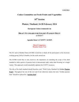 Codex Committee on Fresh Fruits and Vegetables 18