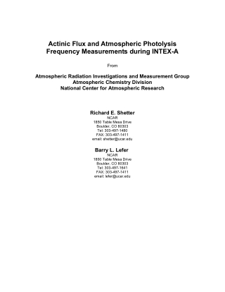 Actinic Flux and Atmospheric Photolysis Frequency Measurements during INTEX-A