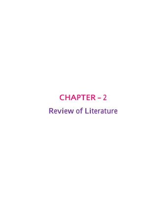 CHAPTER – 2 Review of Literature
