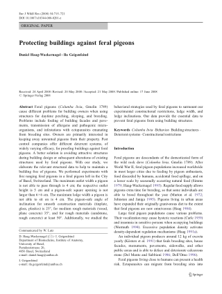 Protecting buildings against feral pigeons