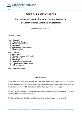 PORT DUES AND CHARGES