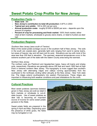 Sweet Potato Crop Profile for New Jersey