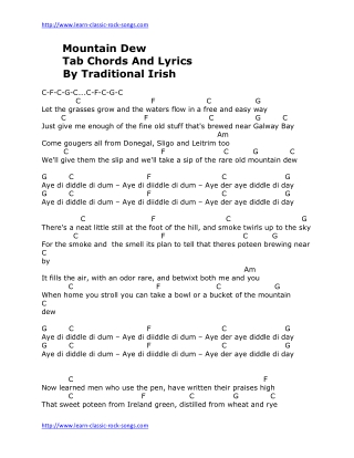 Mountain Dew Tab Chords And Lyrics By Traditional Irish