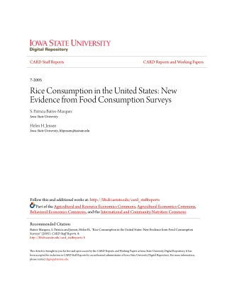 Rice Consumption in the United States: New Evidence from Food Consumption Surveys