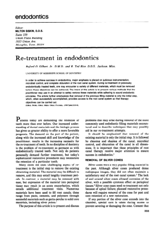 Re-treatment in endodontics