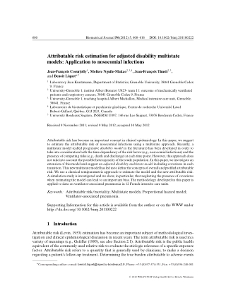 Attributable risk estimation for adjusted disability multistate models: Application to nosocomial infections