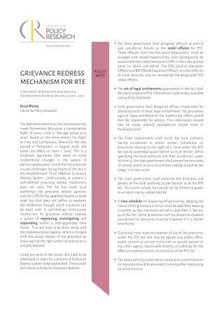 GRIEVANCE REDRESS MECHANISM FOR RTE