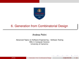 6. Generation from Combinatorial Design