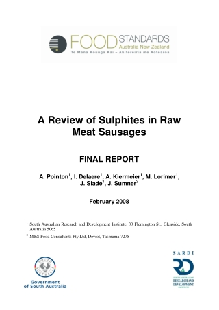 A Review of Sulphites in Raw Meat Sausages