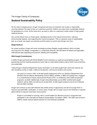 Seafood Sustainability Policy