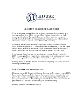 Cast	Iron	Seasoning	Guidelines