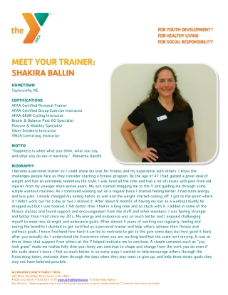 MEET YOUR TRAINER: SHAKIRA BALLIN