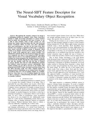 The Neural-SIFT Feature Descriptor for Visual Vocabulary Object Recognition