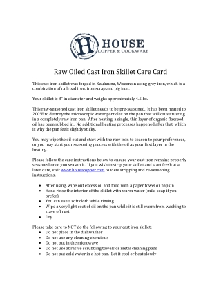 Raw	Oiled	Cast	Iron	Skillet	Care	Card