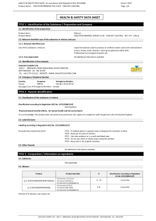 HEALTH & SAFETY DATA SHEET