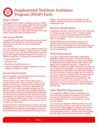 Supplemental Nutrition Assistance Program (SNAP) Facts