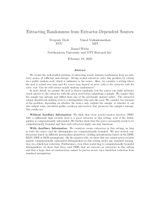 Extracting Randomness from Extractor-Dependent Sources
