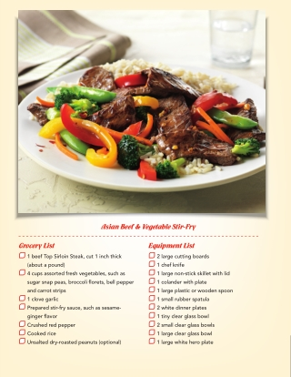 Asian Beef & Vegetable Stir-Fry Grocery List Equipment List