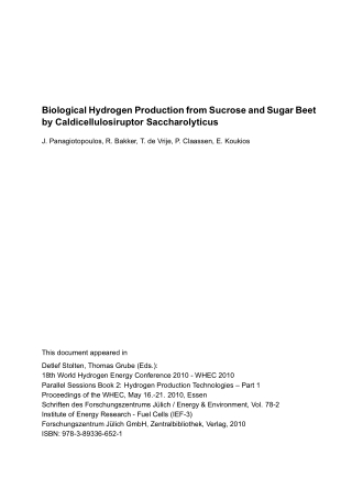 Biological Hydrogen Production from Sucrose and Sugar Beet by Caldicellulosiruptor Saccharolyticus
