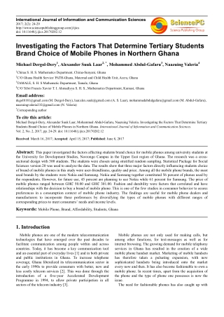 Investigating the Factors That Determine Tertiary Students Brand Choice of Mobile Phones in Northern Ghana