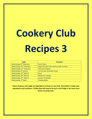 Cookery Club Recipes 3