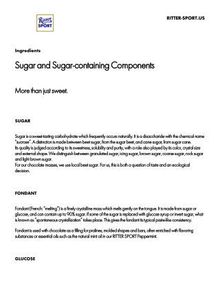 Sugar and Sugar-containing Components Sugar and Sugar-containing Components