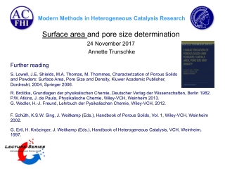 Surface area and pore size determination