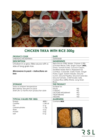 CHICKEN TIKKA WITH RICE 300g