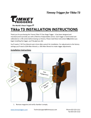 Tikka T3 INSTALLATION INSTRUCTIONS