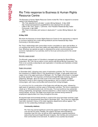 Rio Tinto response to Business & Human Rights Resource Centre
