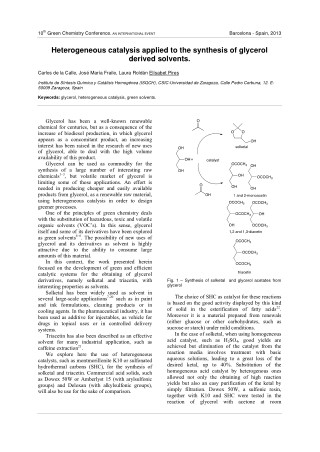 Heterogeneous catalysis applied to the synthesis of glycerol derived solvents.