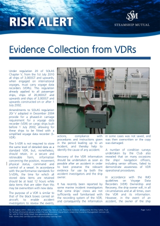 Evidence Collection from VDRs Evidence Collection from VDRs Evidence Collection from VDRs Evidence Collection from VDRs