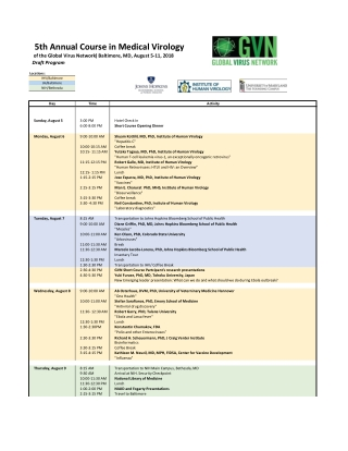 5th Annual Course in Medical Virology