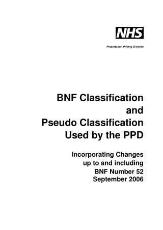 BNF Classification and Pseudo Classification Used by the PPD