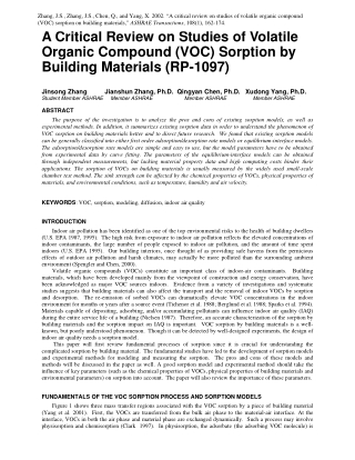 A Critical Review on Studies of Volatile Organic Compound (VOC) Sorption by Building Materials (RP-1097)