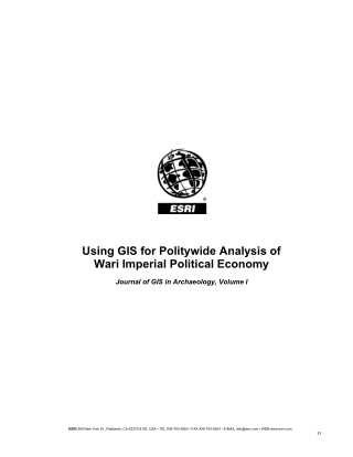 Using GIS for Politywide Analysis of Wari Imperial Political Economy