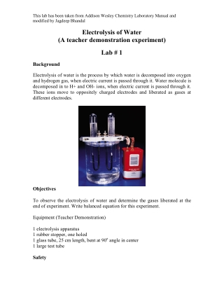 Electrolysis of Water (A teacher demonstration experiment) Lab # 1