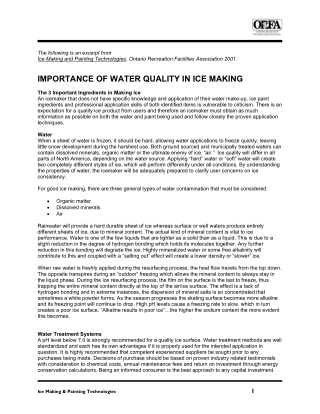 IMPORTANCE OF WATER QUALITY IN ICE MAKING